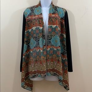 Sunny Leigh Open Front Printed Cover Top  Size L